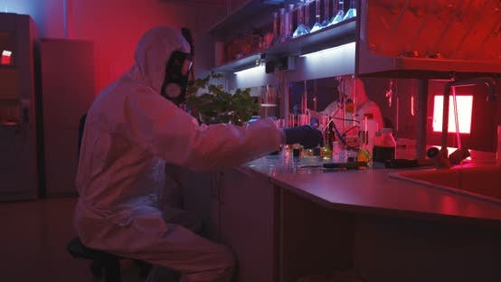 Thumbnail for Scientists Working in Laboratory in Red Light