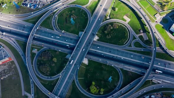 Freeway Intersection Traffic Trails in Moscow