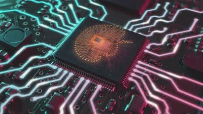 Artificial Intelligence Concept Electronic Brain Powered By Processor