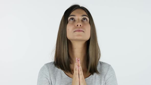 Thumbnail for Praying Beautiful Girl for Forgiveness, White Background in Studio