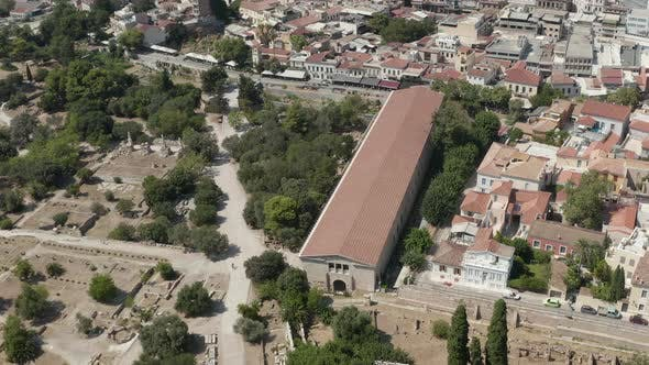 Thumbnail for Aerial View of Museum of the Ancient Agora in Athens, Greece at Daylight