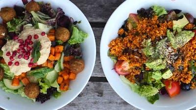 Vegan Salads. Top View. Closeup.