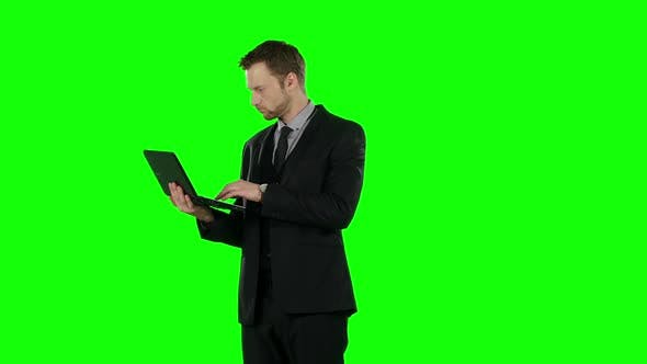Thumbnail for Business Man Using Computer. Green Screen.