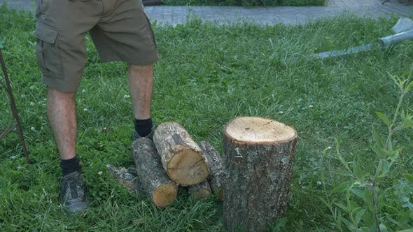 Thumbnail for Caucasian male logger chopping wood with axe outside on sunny day.