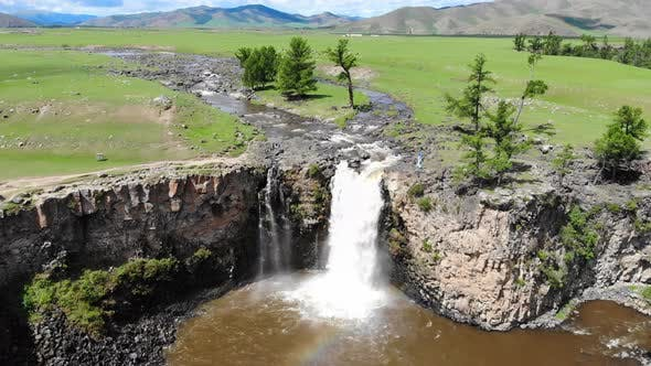 Thumbnail for Aerial Orkhon Waterfall in Mongolia