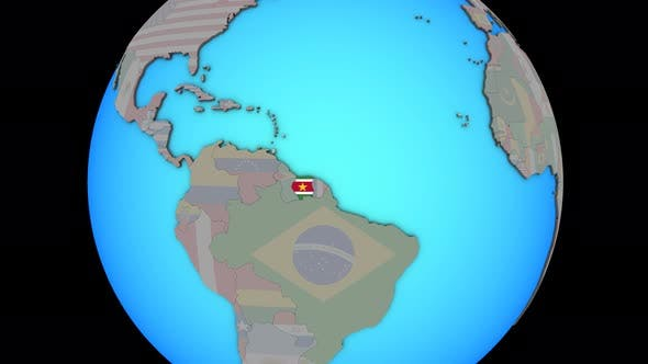 Suriname with flag on 3D map