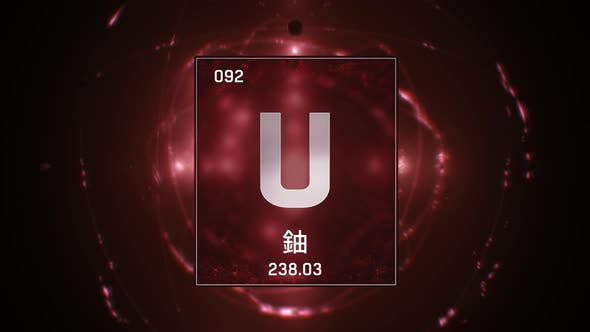 Thumbnail for Uranium as Element 92 of the Periodic Table on Red Background in Chinese Language