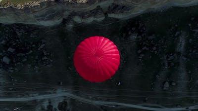 Hot air balloon over the cliffs