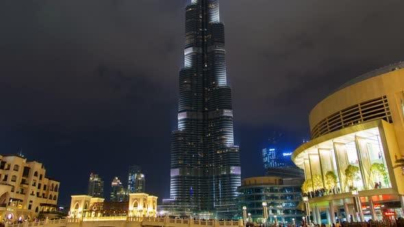 Thumbnail for Dubai Burj Khalifa at Night Time Lapse. Pan Up