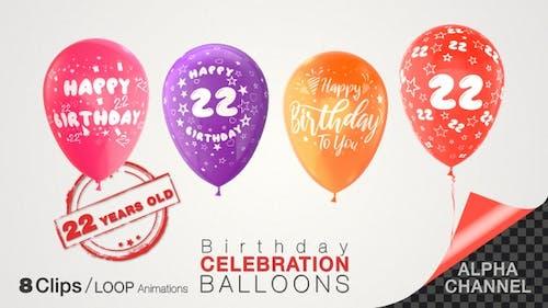 Luftballons zum 22. Geburtstag, zweiundzwanzig Jahre alt