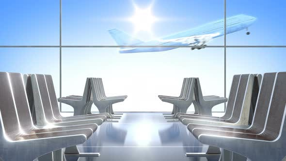 Cover Image for Passenger Airplane Taking off As Seen from Departure Hall