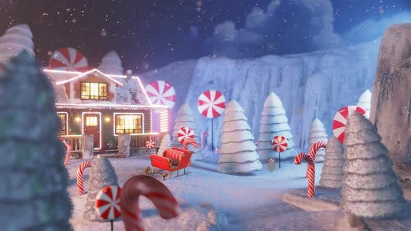 Thumbnail for Christmas Wish Card Falling Snow on Bright House in the Night