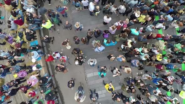 People crowd on city concert, aerial view