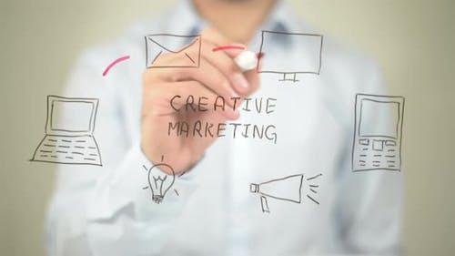 Creative Marketing, Businessman Writing on Transparent Screen