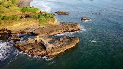 Aerial Shot of Ocean and Island Coast