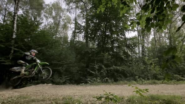 Rider On Sports Motorcycle Makes Jump With Motorcycle