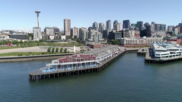 Thumbnail for Downtown Seattle Buildings And Waterfront Pier 70 On Sunny Day With Blue Sky