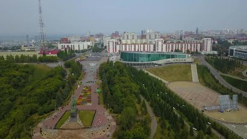 Ufa Bashkortostan Russia Monument to Salavat Yulaev in Ufa at Summer Cloudy Day  Aerial Drone View