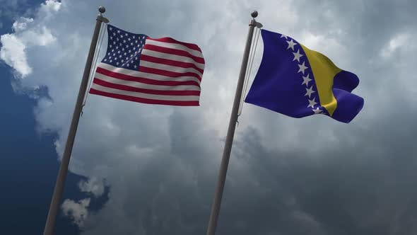 Waving Flags Of The United States And The Bosnia And Herzegovina 4K