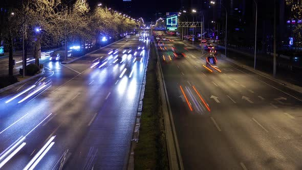 Cover Image for Chinese Highway in Beijing City District at Night Timelapse
