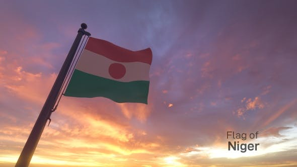 Thumbnail for Niger Flag on a Flagpole V3