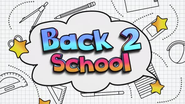 Thumbnail for Animated closeup text Back to School and closeup motion of school elements, education background
