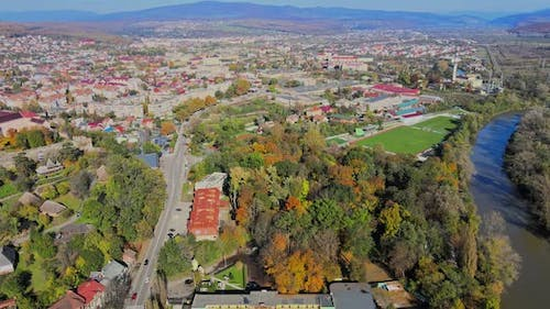 Panoramic View of Old City From a Aerial View Transcarpathia Uzhhorod Ukraine Europe Old Town