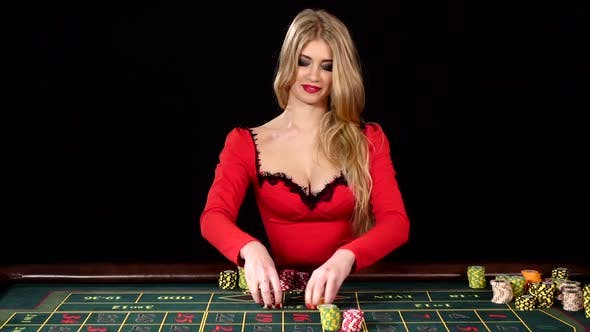 Beautiful Girl in Red Sexy Dress Won at the Casino. Black by KinoMaster on  Envato Elements