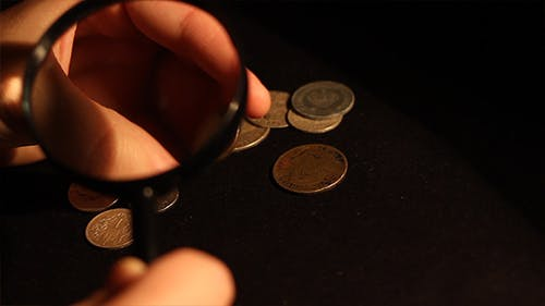 Collector Examines Old Coins