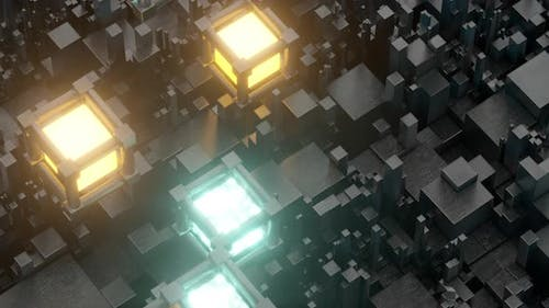 Glowing cubes floating over the dark cubes.