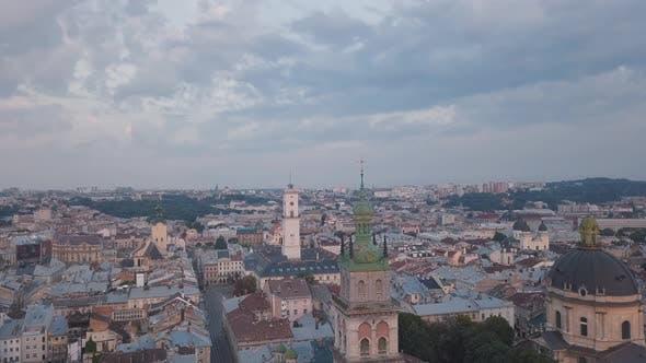 Aerial City Lviv, Ukraine. European City. Popular Areas of the City. Town Hall