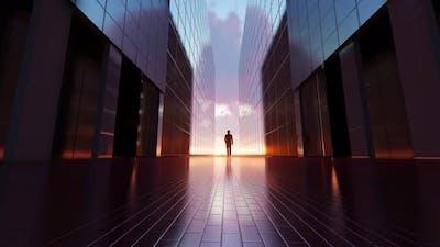 A man walks on a successful way