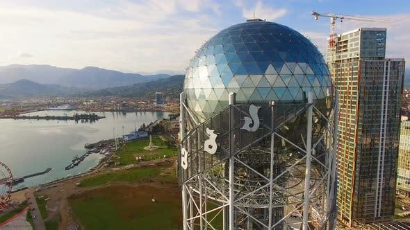 Thumbnail for Big Silver Ball in Crown of Alphabetic Tower Batumi Georgia, Cultural Symbol