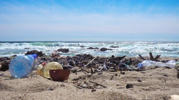 Thumbnail for Waste On Beach Causes Environmental Pollution. Trash On Sand