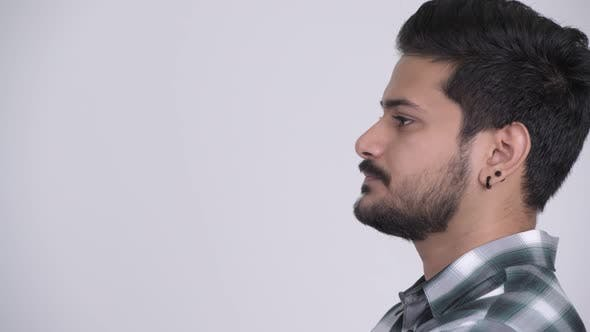Thumbnail for Profile View of Young Handsome Bearded Indian Man