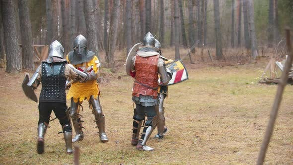 Four Men Knightes Having a Training Fight on the Field