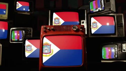 Flag of Sint Maarten on Retro TVs.