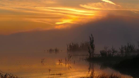 Thumbnail for Landscape with Sunrise on River in Fog, Timelapse
