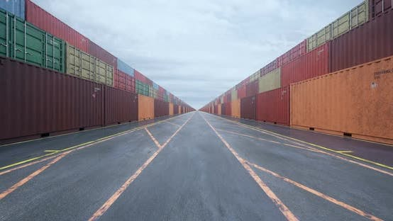 Thumbnail for Infinite Rows of Cargo Shipping Containers Under Overcast Sky
