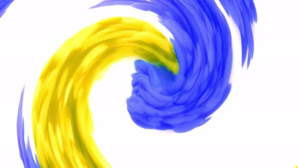 Thumbnail for Blue and Yellow Ink on a White Background, While Creating Beautiful Swirl Shapes.