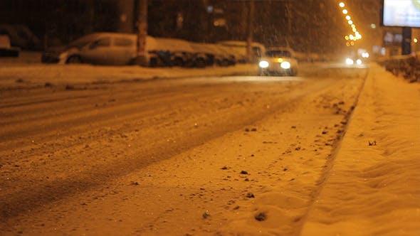 Thumbnail for Snowy Night Avenue Traffic