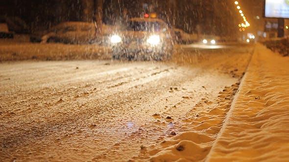 Thumbnail for Taxi Car Passing Snowed Road