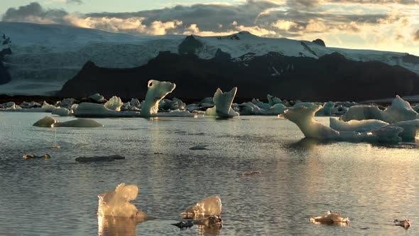 Floating Icebergs in Jokulsarlon Glacier Lagoon Iceland.