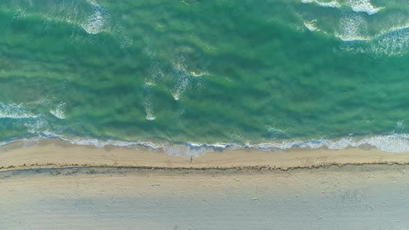 Thumbnail for Ocean with Waves and Sandy Beach in Sunny Morning