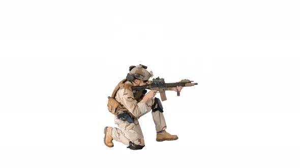 Soldier Sits Down for Aiming and Shooting with Rifle on White Background.