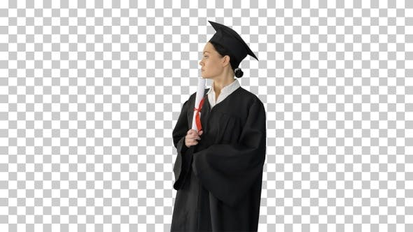 Thumbnail for Female student in graduation robe holding, Alpha Channel