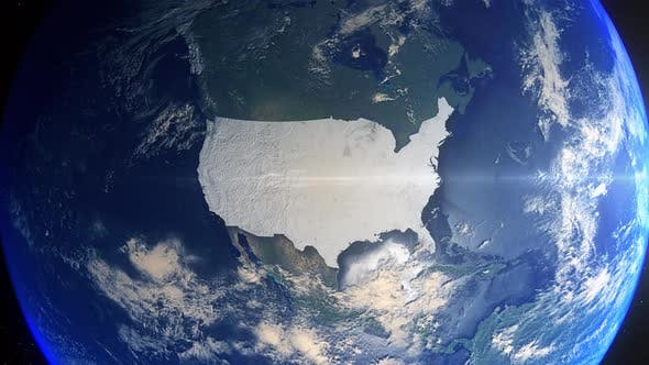 Realistic Earth Zoom Highlight Country United States Of America