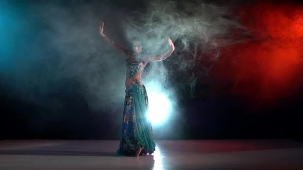 Thumbnail for Talanted Belly Dance Movements of Young and Attractive Girl, Go On, Slow Motion, in Smoke, Black