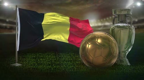 Belgium Flag With Football And Cup Background Loop