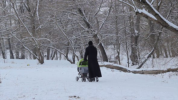 Thumbnail for Woman with Baby Stroller on Snowy Park